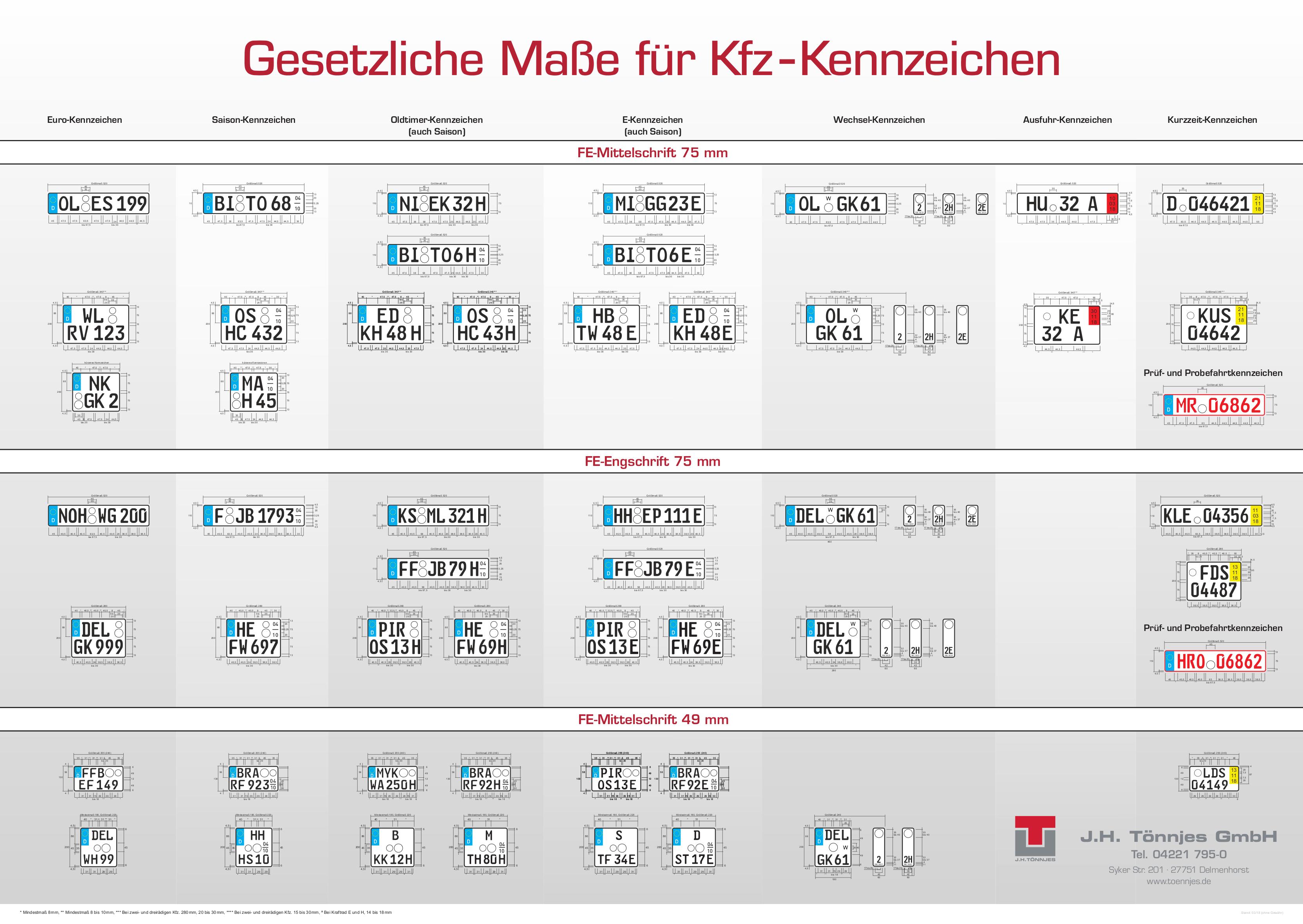 1 Kfz Autokennzeichen Nummernschilder Autoschilder LKW Kennzeichen 520 x 110 mm