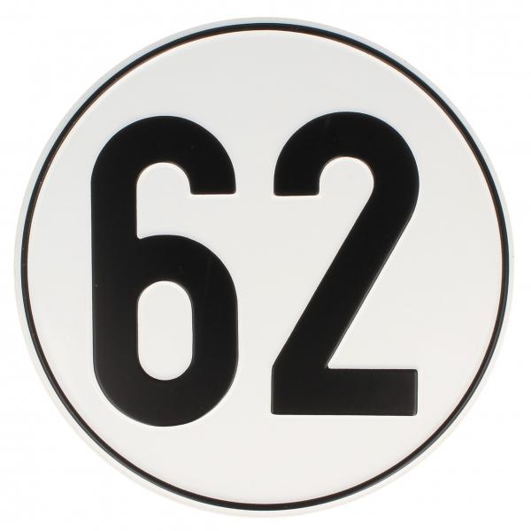 Geschwindigkeitsschild Alu 62 kmh
